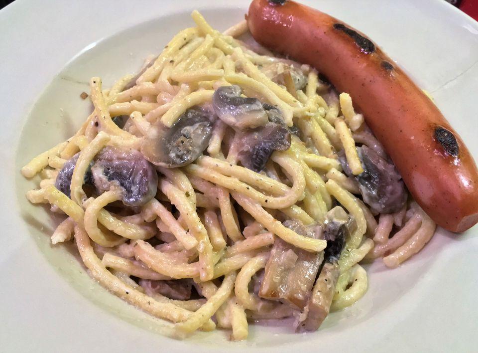 Spatzle in mushroom and cream sauce