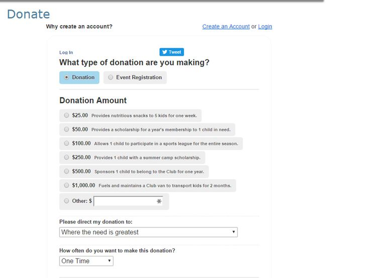Donation form for a charity.