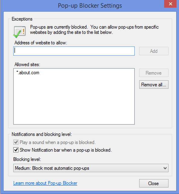 How to Use the Pop-Up Blocker in Internet Explorer 11