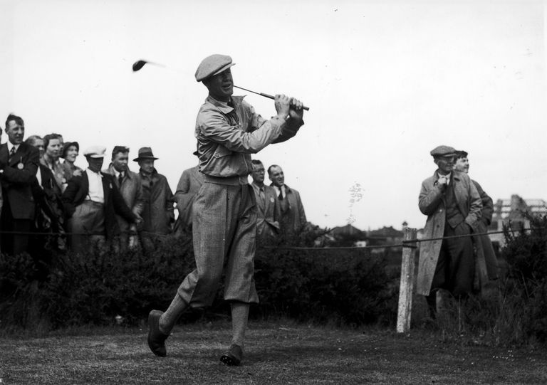 Byron Nelson driving off during his match in the 1937 Ryder Cup