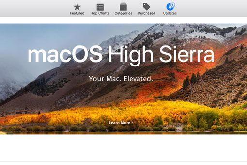 Mac App Store with macOS High Sierra featured.