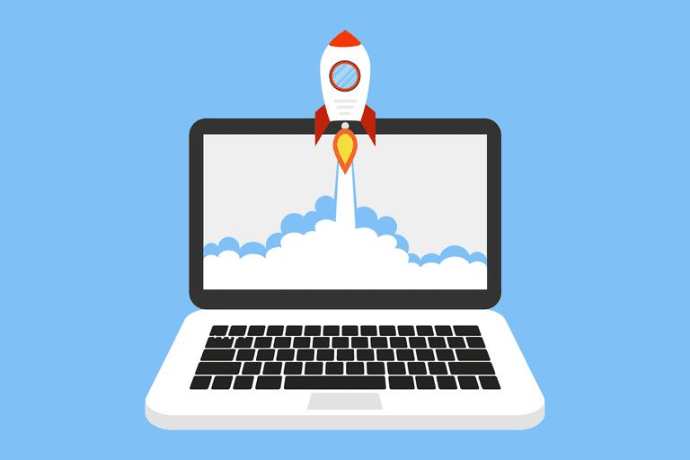 Rocket ship on computer screen