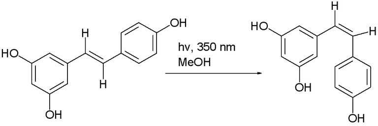 photochemical conversion of the trans isomer of resveratrol to the cis isomer.