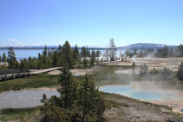 West Thumb Geyser Basin and Lake Yellowstone ©Angela M. Brown (June 2008)