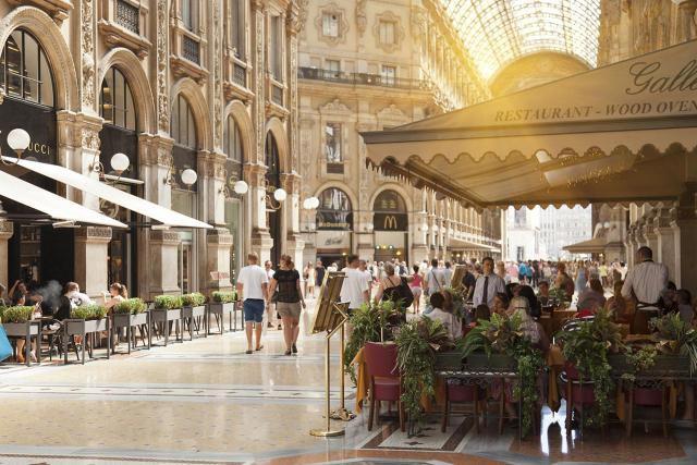 Cafes in ornate galleria