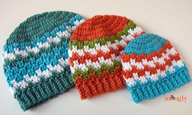 Striped Blocks Crochet Hat Free Pattern