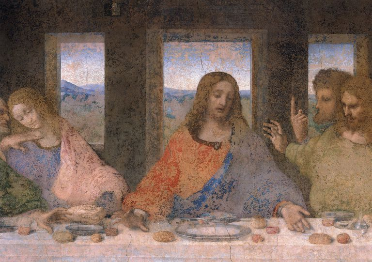 Detail of Christ with Disciples from The Last Supper by Leonardo da Vinci