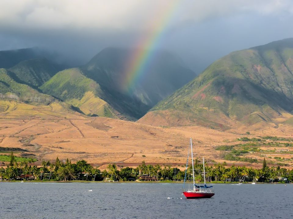Rainbow in the West Maui Mountains at Sunset