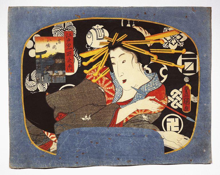 Courtesan with long pipe, Hachiman temple in inset on left, 1856, ukiyo-e art print by Utagawa Kunisada (1786-1865) from Famous places of Edo, Uchiwa-e woodcut (rigid fan), Japanese civilization, Edo period, 17th-19th century
