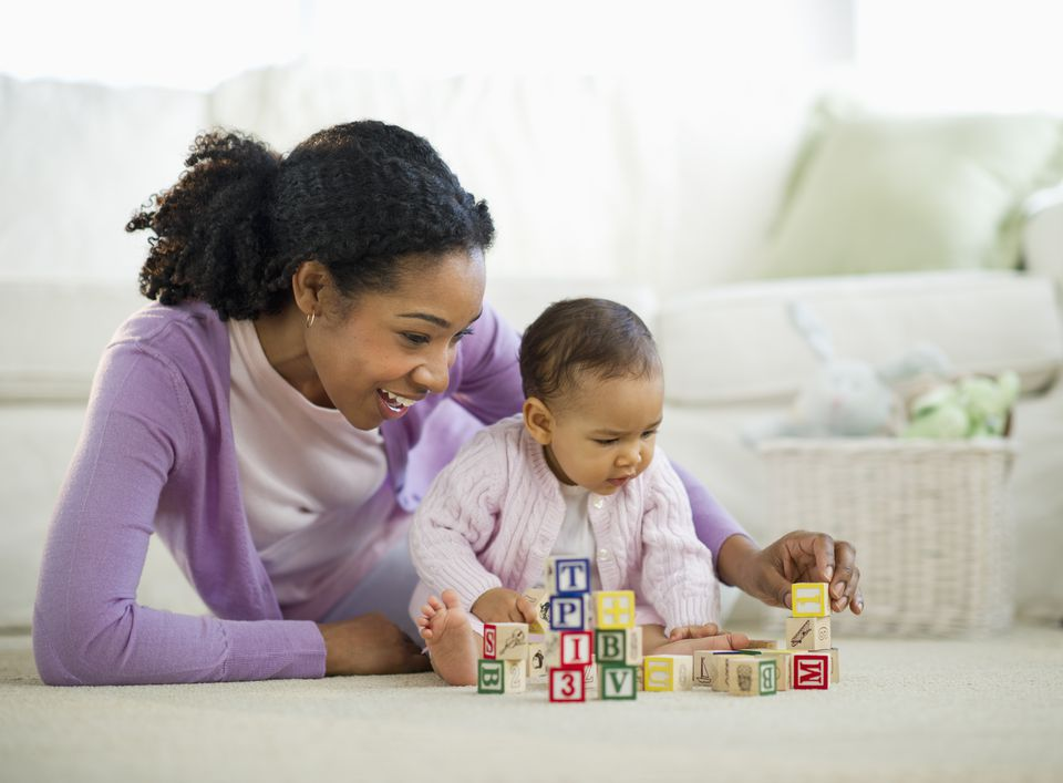Baby Building Blocks with Mother