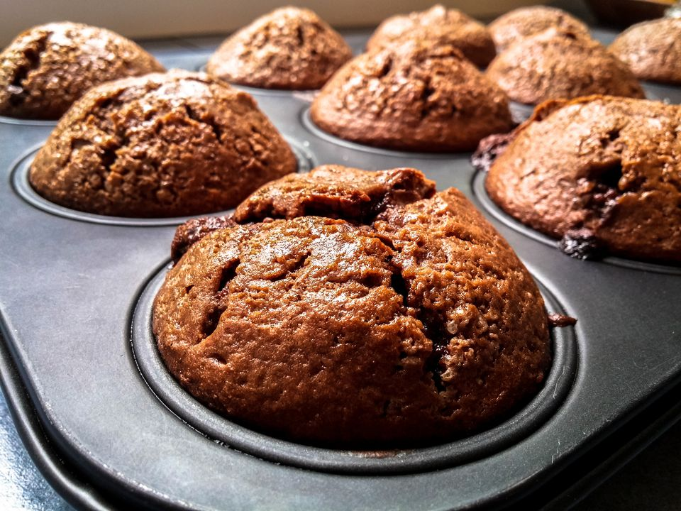 Close-Up Of Muffins On Baking Tray