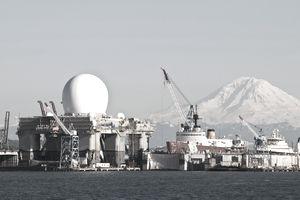 Sea Based Missile Defense Radar with view of Mount Rainier, Seattle, Washington, USA
