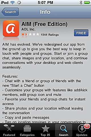 AIM App for iPhone and iPod Touch