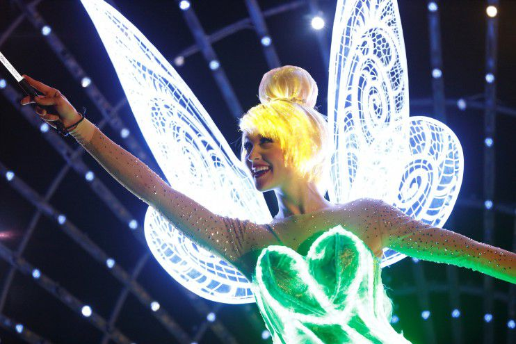 Tinkerbell in Paint the Night at Disneyland