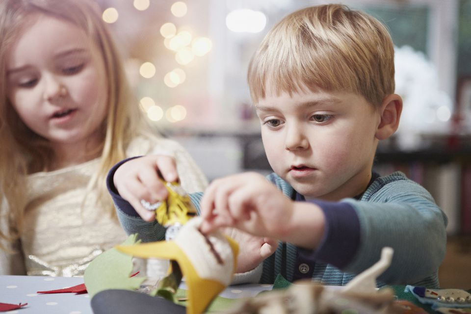 children making Christmas crafts