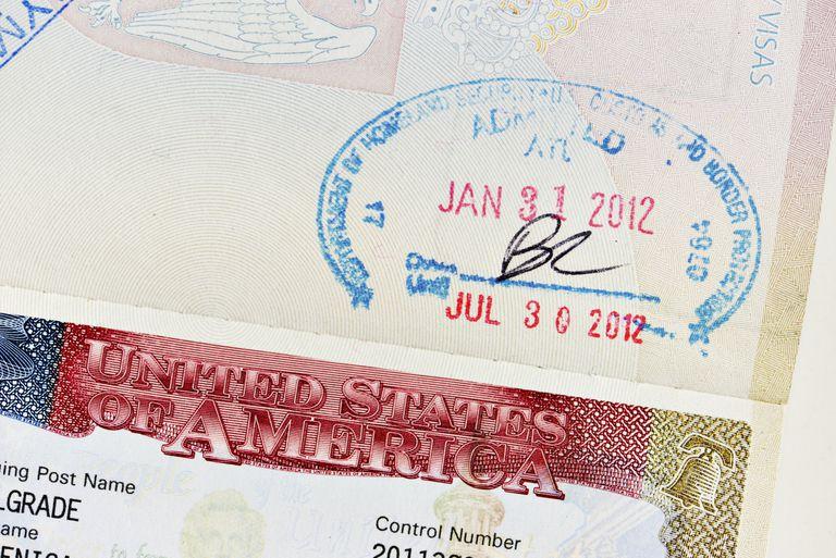 Sello que prueba el ingreso a Estados Unidos.