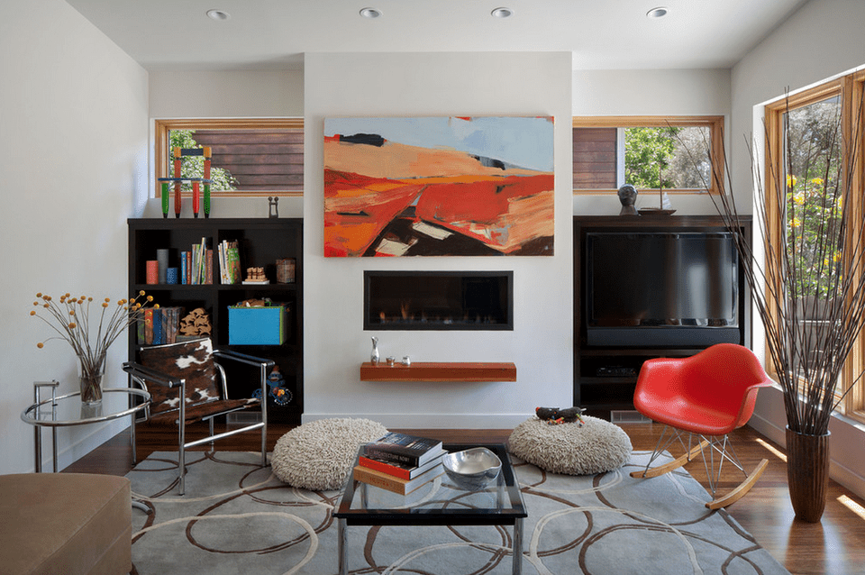 Colorful Modern Living Room With Fireplace