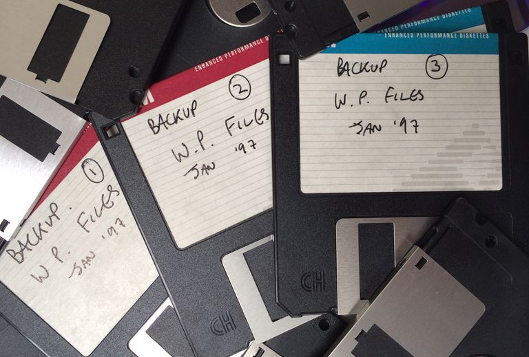Floppy discs used for backup.