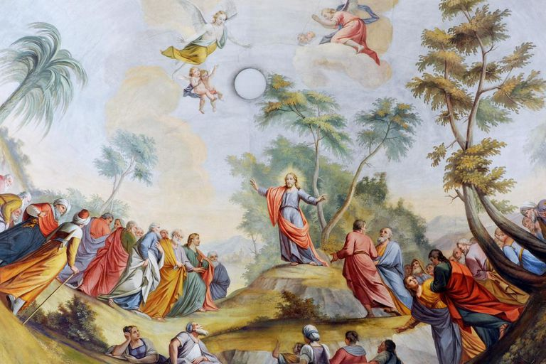 The Sermon of Jesus on the mount. Fresco by Franz Xaver Kirchebner in the Parish church of St. Ulrich in Gröden-it:Ortisei build in the late 18th century.