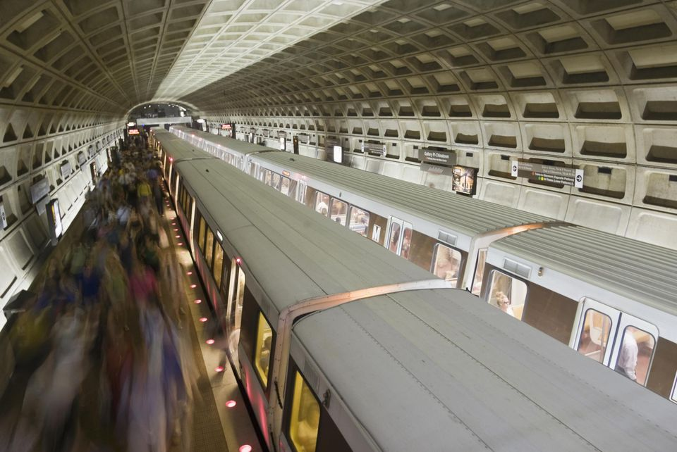 Rush hour on the Metro, Washington DC, USA