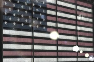 L.E.D. banner of American Flag in Times Square, NY
