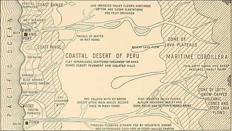 1915 Stylized Map of the Coastal Desert of Peru