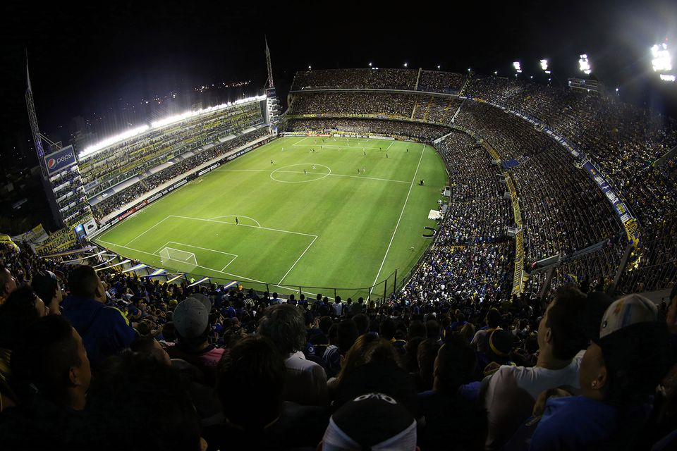 A view of the Boca Juniors' stadium during a night game