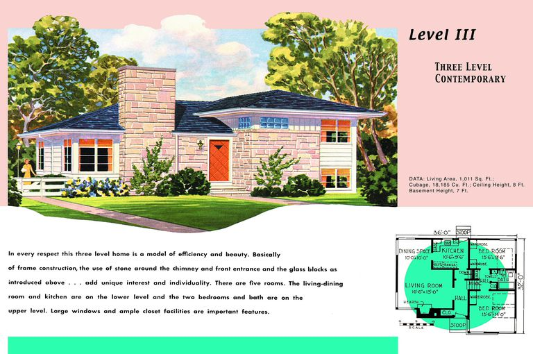 1950s Floor Plan And Rendering Of Ranch Style House With Two Levels A Basement