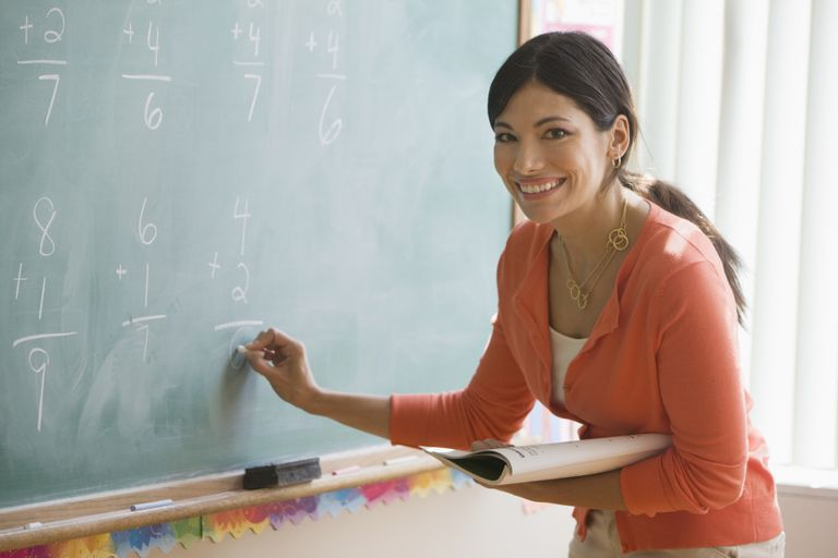 Maestra de matemáticas en pizarra.