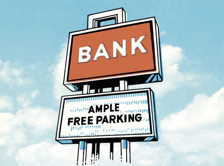 Bank with ample free parking