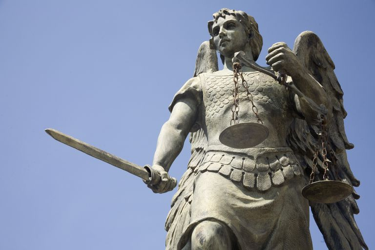 Statue of Archangel Michael Holding Sword