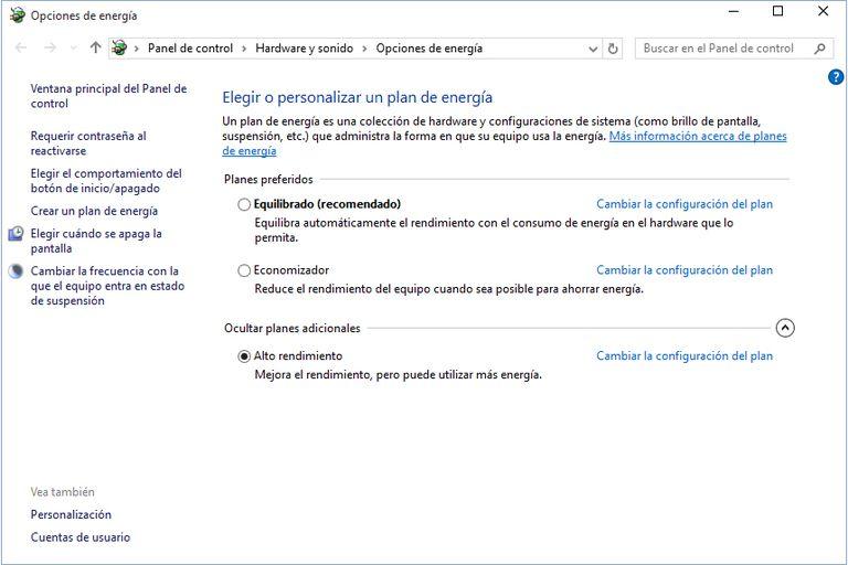 Resultado de imagen de alto rendimiento windows 10