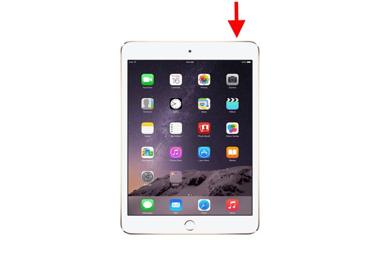 Illustration showing the button on the top right corner of the iPad to wake it up.
