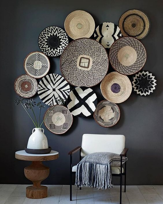 wall with african baskets on it