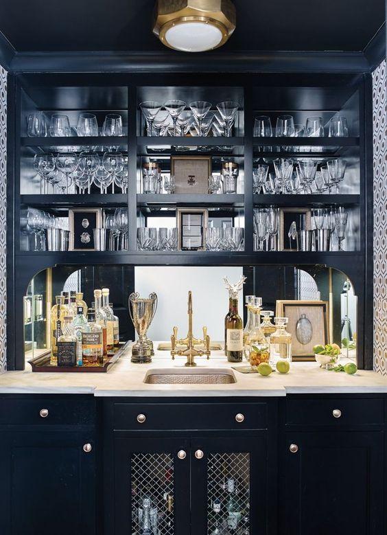 Black home bar with metallic fixtures