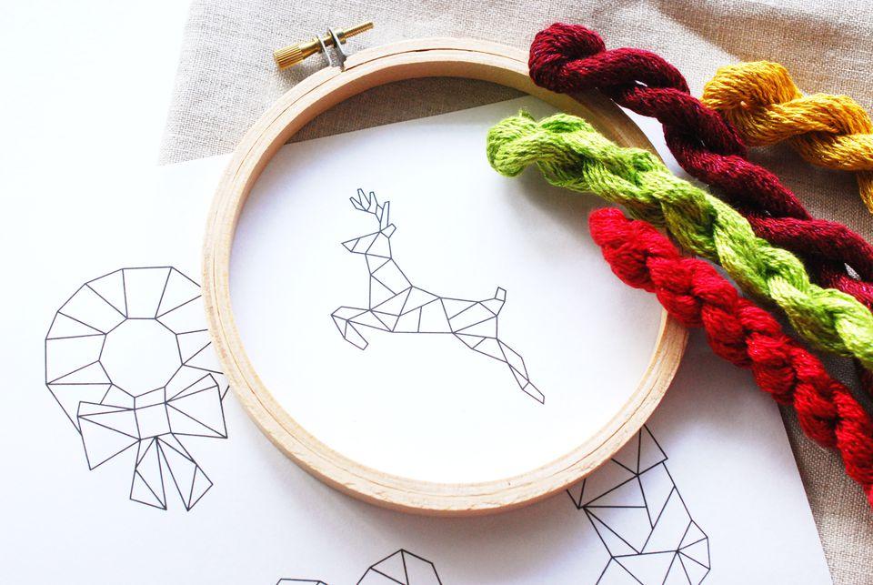 Geometric Christmas Embroidery Patterns
