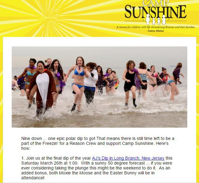 The polar dip, an event by Camp Sunshine in Maine.