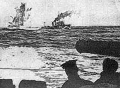 HMS Tempest dropping a depth charge