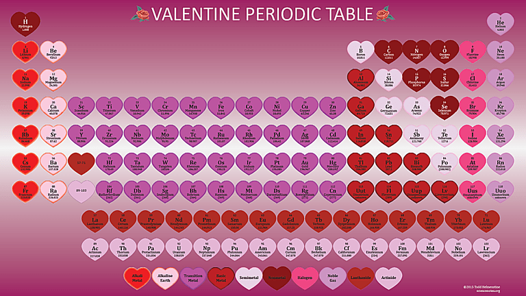 Show love of chemistry with a Valentine's Day periodic table.