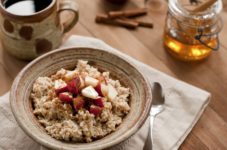 Bowl of oatmeal and apples
