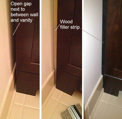 Corner Installation  Closing the Gap at a Side WallHow to Replace and Install a Bathroom Vanity. Installing Bathroom Vanity. Home Design Ideas