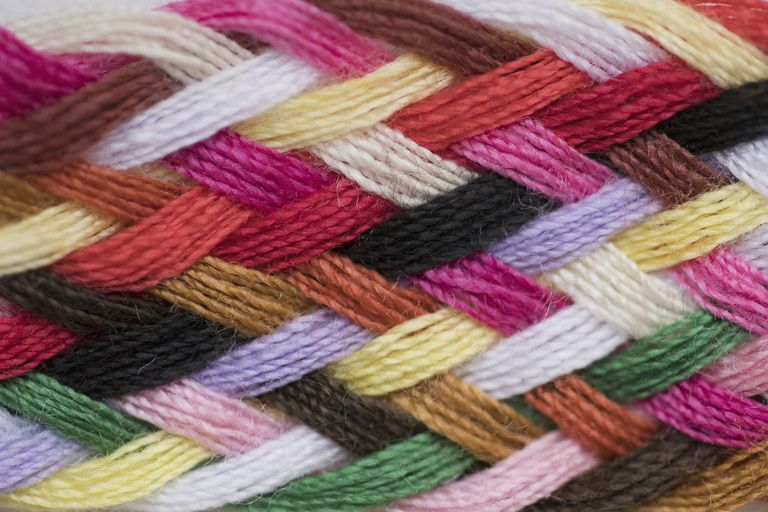 Full frame shot of colorful knitted wool
