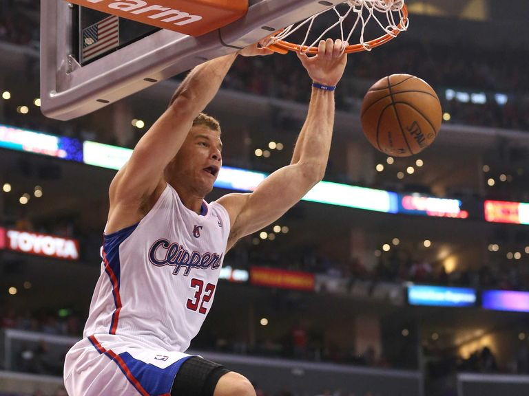 Blake Griffen completing an alley oop.