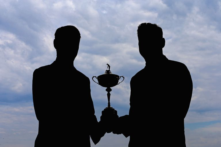 The Ryder Cup trophy seen in silhouette