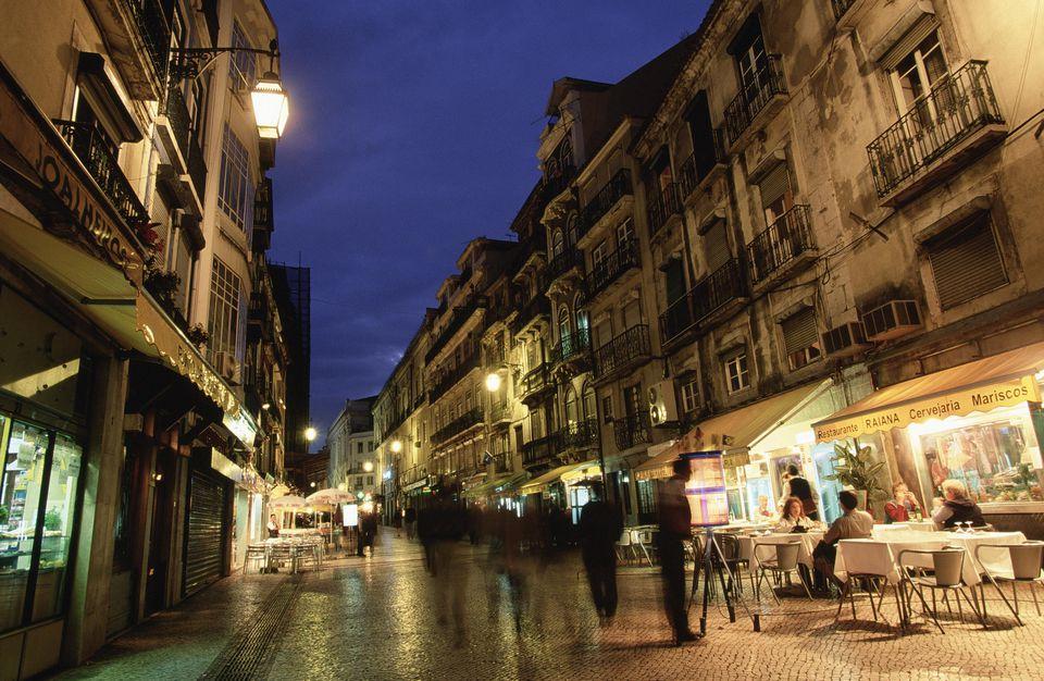 Restaurant row in the evening, Lisbon, Portugal