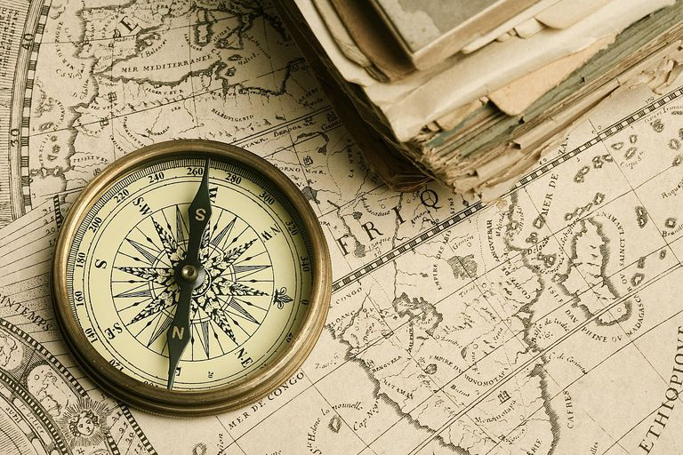 Compass and historical map