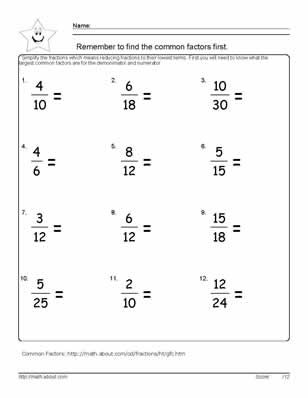 6th grade math worksheets reducing fractions