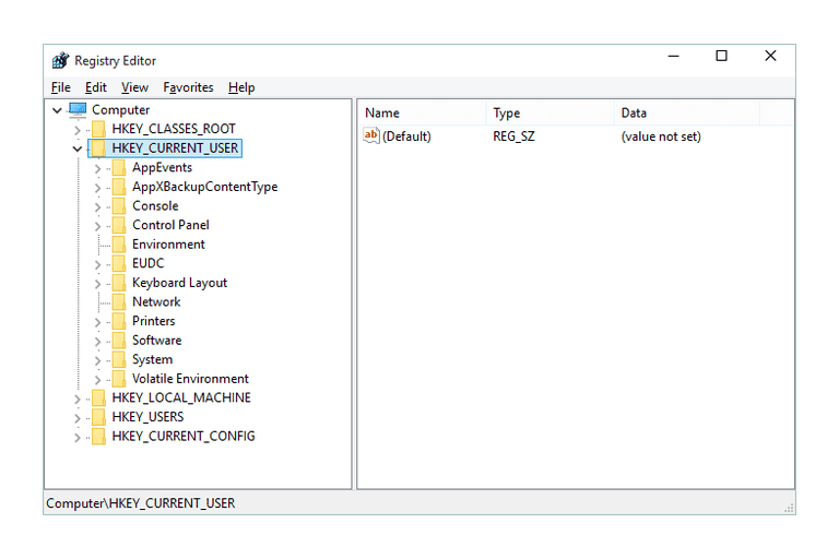 Screenshot of the HKEY_CURRENT_USER Registry Hive in Windows 10