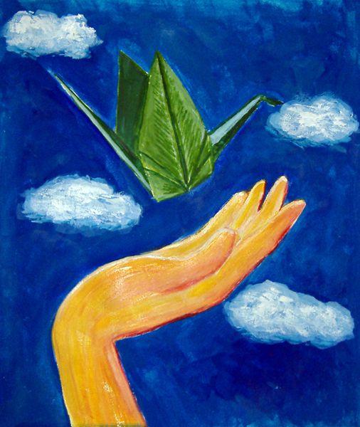 paper crane painting