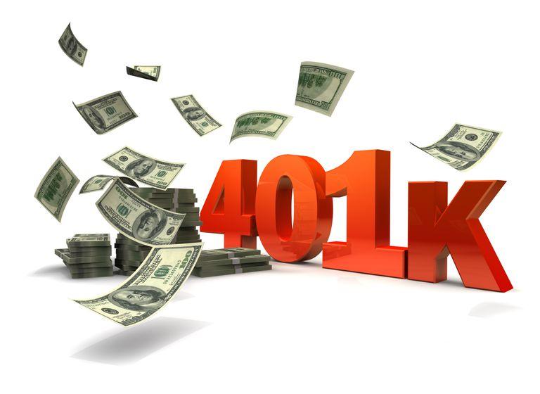 Money blowing around a 401(k) sign.